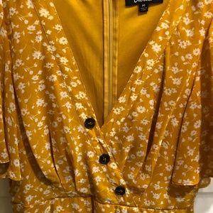 Lulu's Dresses - Yellow Floral Print Midi Dress